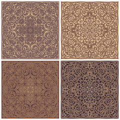 Four square patterns of brown and cream shades. Oriental ornament for the design of scarves, scarves or textiles. Vector illustration.