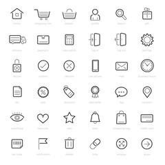 Shopping icons on white background