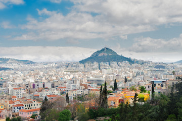 Cityscape of Athens with Lycabettus Hill, Greece