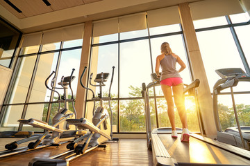 Fitness lifestyle. Young sporty woman exercising in light sport gym interior.