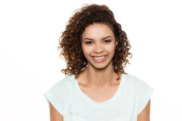 Attractive happy girl in studio