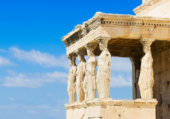details of Erechtheion temple in Acropolis of Athens, Greece