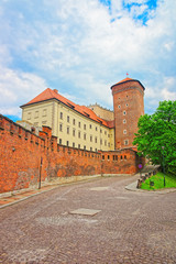 Autocollant pour porte Cracovie Tower of Wawel Castle and defensive walls in Krakow