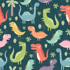 Funny dinosaurs seamless pattern