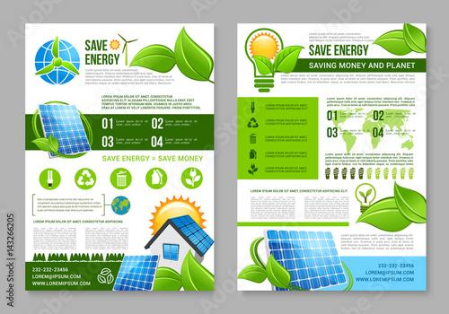 Saving Energy Brochure Template For Eco Design Stock Image And