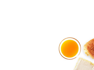 This is top table view orange juice and bakery on white isolated