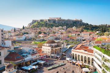 Keuken foto achterwand Athene Skyline of Athenth with Moanstiraki square and Acropolis hill, Athens Greece