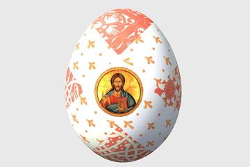 пасхальное яйцо с ликами Иисуса Христа и фрагментами русских народных орнаментов