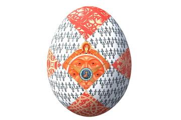 пасхальное яйцо с иконой и фрагментами русских народных орнаментов