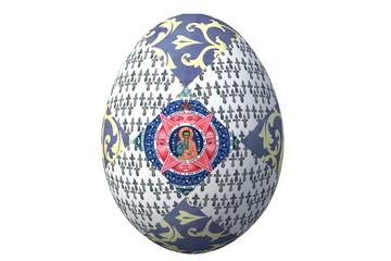 Синее пасхальное яйцо с иконой и фрагментами русских народных орнаментов