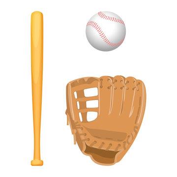 Baseball equipment colorful vector flat set on white