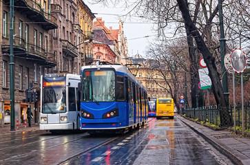 Running trams in city center of Krakow