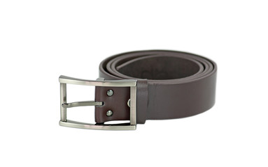 Leather belt for men . Isolate on white background