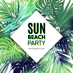 Green summer tropical background with exotic palm leaves and plants. Vector floral party flyer template.