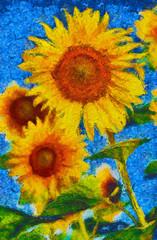Sunflowers painting. Van Gogh style imitation