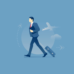 Businessman carrying a luggage in business trip