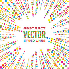 Holiday speed lines from bright multicolored circles of different diameter on white background. Design element for greeting card, banner, invitation to party. Vector illustration