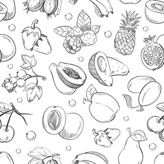 Healthy fruit hand drawn seamless vector texture