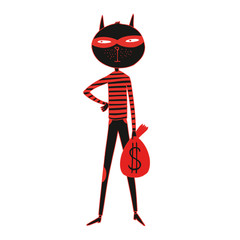 Illustration of a cartoon cat of a robber