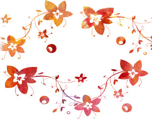 Watercolor floral pattern on a white background