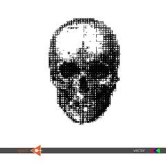 Vector Skull Square, mosaic, pixels on white. Symbol, head, concept