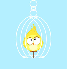 Canary. Cartoon bird Vector illustration eps 10.