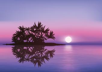 île déserte - île - coucher de soleil - Maldives - vacances - soleil couchant -