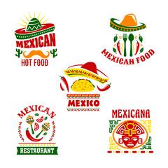 Mexican fast food restaurant emblem set design