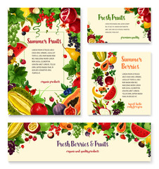 Fruit, berry banner template set for food design