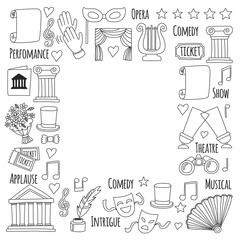 Hand drawn doodle Theatre set Vector illustration Sketchy theater icons Ticket Masks Lyra Flowers Curtain stage Musical notes Pointe shoes Make-up artist tools Theatre acting performance elements