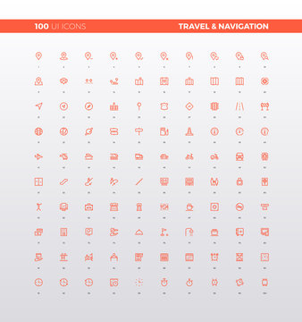 UI UX Navigation and Travel Icons