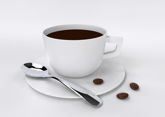 coffee with coffee beans isolated on white 3D rendering