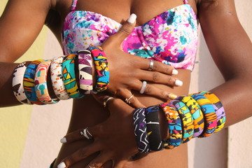 African Fashion / Beautiful colorful African Textiles Jewellery in West Africa.