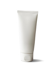 Package design cosmetic products. White realistic tube.