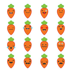 Emotions Carrots. Vector style smile icons.
