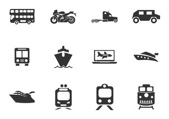 Typse of transport icon set