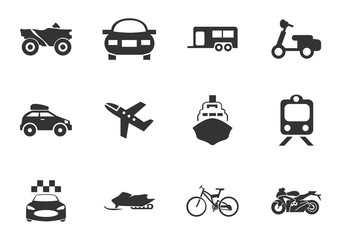 Typse of transport icon set