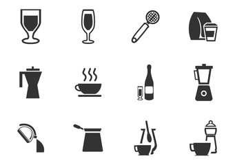 Utensils beverages icon set