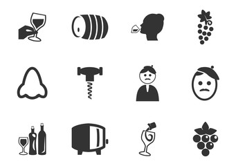 Vineyard and Wine icon set