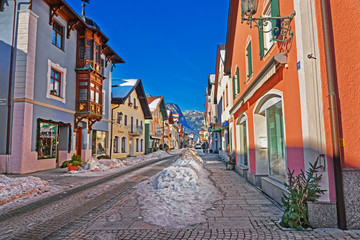 Printed roller blinds Eastern Europe Street in Bavarian style decorated for Christmas in Garmisch Partenkirchen