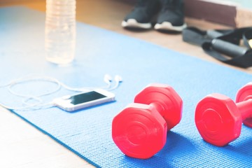Red dumbbells and smartphone with earphones and fitness equipments, Sport equipments, Workout and Healthy lifestyle