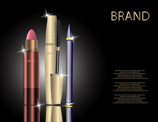Glamorous Set of tubes with Lip Colour Balm, Mascara Package and Eyeliner on the Sparkling Effects Background