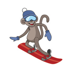 Cheerful monkey snowboarding. Animal on white background. vector illustration