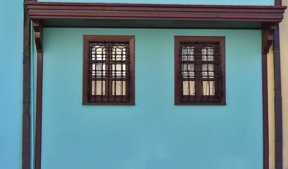Restored Ottoman House's Windows in Eskisehir, Turkey