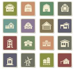farm building icon set