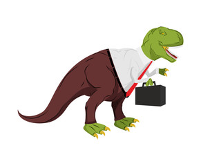 Tyrannosaurus businessman. Dino Boss. Chief with case is prehistoric dinosaur. Ancient lizard in suit