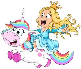 Niedliche Prinzessin reitet auf einem Einhorn Vektor Illustration