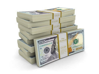 Pile of Dollars. Image with clipping path