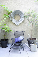 Interior courtyard, flowered terrace and designer lounge chair with potted trees and vintage trendy beef eye window
