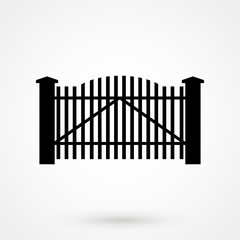 Black wooden fence garden gate vector isolated